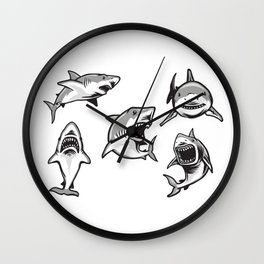 Angry Sharks Wall Clock