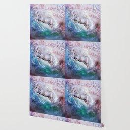 Einhorn mit Blumen und Sternen Wallpaper