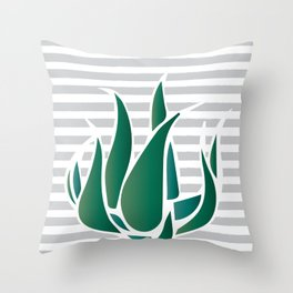 Striped Agave Throw Pillow