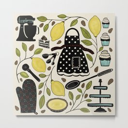 Baking Folk Art with Lemons Metal Print