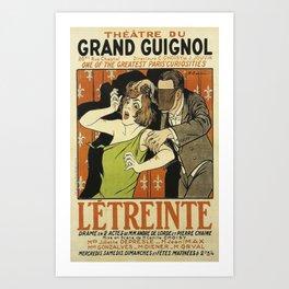 Le Étreinte, Theatre du Grand Guignol, vintage poster Art Print