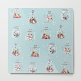 Christmas Pattern Mint Metal Print