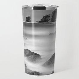 Water. Volcanic rocks. Monochrome Travel Mug