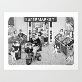 Outside the Supermarket Art Print