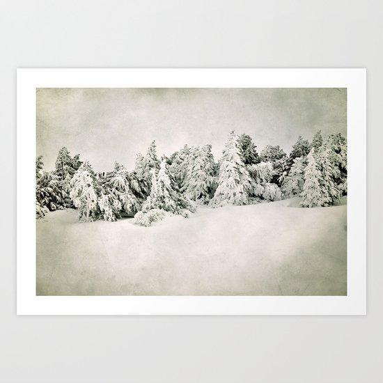 Snow time. Vintage Art Print