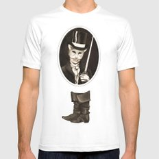 Puss in Boots MEDIUM White Mens Fitted Tee