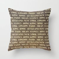 cities Throw Pillows featuring Cities by Linde Townsend