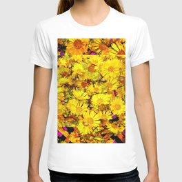 Rich Golden Yellow  Coreopsis Flowers Modern Art T-shirt