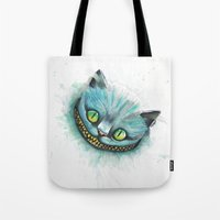 cheshire cat Tote Bags featuring Cheshire Cat by digiartpicture