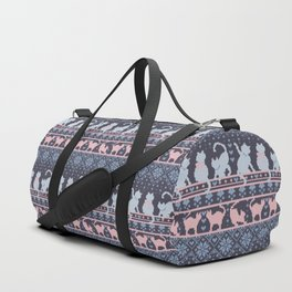 Fair Isle Knitting Cats Love // purple white and pink kitties Duffle Bag