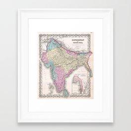 Vintage Map of India (1855) Framed Art Print