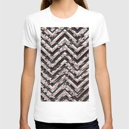 Black and White Marble and Rose Gold Chevron Zigzag T-shirt