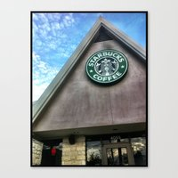 starbucks Canvas Prints featuring Starbucks by Chelsea Gibson