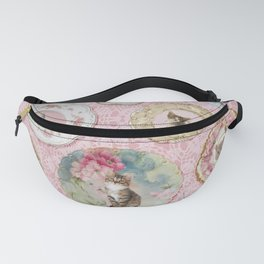Magical Cat Plates on Pink Lace Wall Fanny Pack