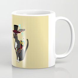 A Cool Steampunk Cat with Feather in his Hat Coffee Mug