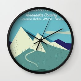 Threepoint Mountain Canada travel poster. Wall Clock