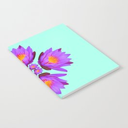 Purple Lily Flower - On Aqua Blue Notebook