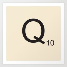 Scrabble Q Art Print