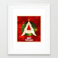 dragonball z Framed Art Prints featuring Dragonball Z Christmas by Weasley-Detectives