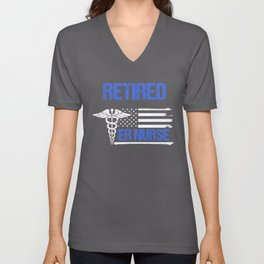Retired ER Nurse Distressed Flag Unisex V-Neck