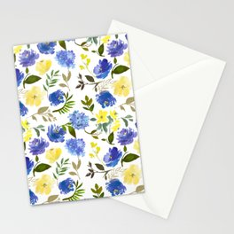 Scattered Blue and Yellow Blossom And Hydrangea on Gray    Stationery Cards
