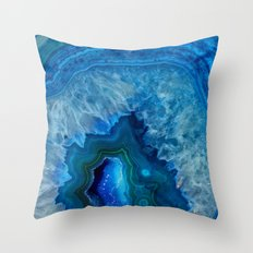 Blue Agate Throw Pillow