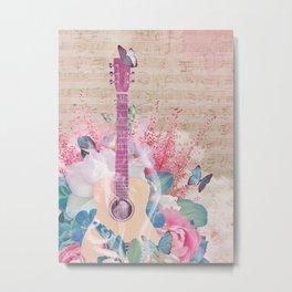Floral Guitar Metal Print