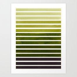 Watercolor Gouache Mid Century Modern Minimalist Colorful Olive Green Stripes Art Print