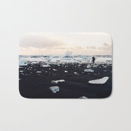 Photographer on Diamond Beach, Iceland Bath Mat