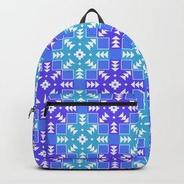 Blue Detailed Geometric Aztec Digital Pattern Backpack