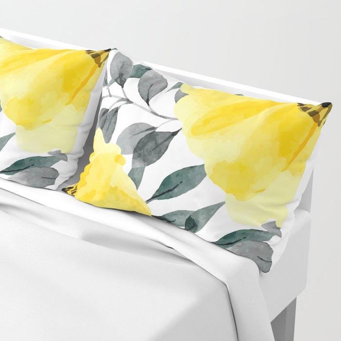 Big yellow watercolor flowers Pillow Sham