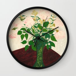 Vintage Rose Painting - American Art Wall Clock