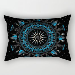 Buffalo Skull and Feathers (Blue) Rectangular Pillow