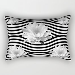 Black & White Water Lilies Water Garden Rectangular Pillow