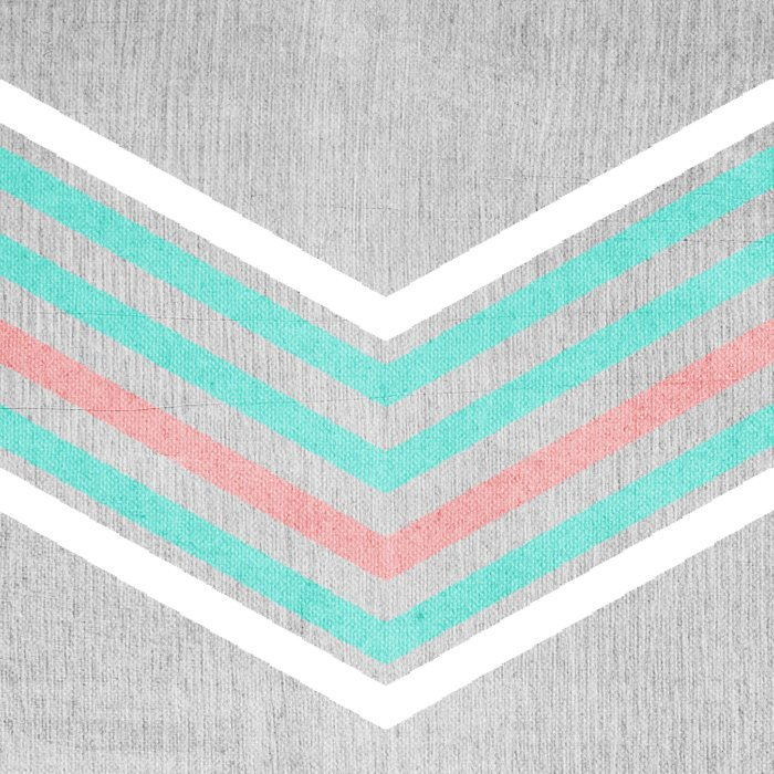 Teal Pink And White Chevron On Silver Grey Wood Duvet