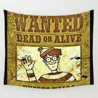 waldo Wall Tapestries featuring Where's Waldo Wanted Poster by Silvio Ledbetter