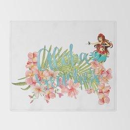 Aloha- Alohabeaches with tropical flowers Palm leaf and Hula Girl Throw Blanket