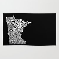 minnesota Area & Throw Rugs featuring Typographic Minnesota by CAPow!
