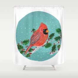 Winter Cardinal with Holly Shower Curtain