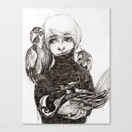 Boy & Parrots Canvas Print
