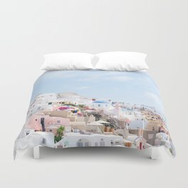 Pastel Colored View on Santorini Greece Duvet Cover