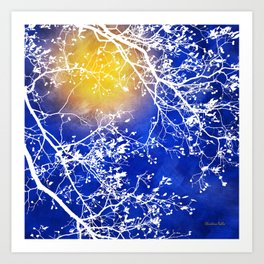 Blue Tree Abstract Art Print