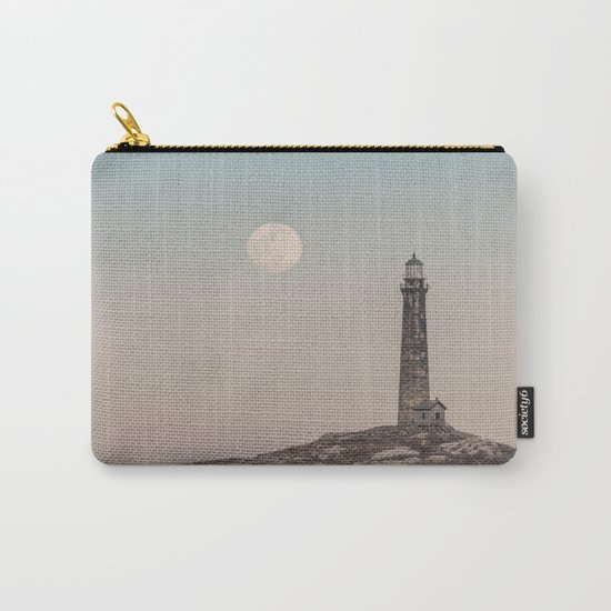 Pink moon rising over Thacher Island Carry-All Pouch