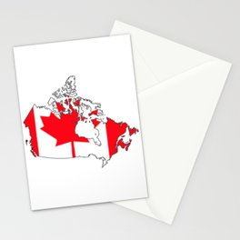 Canada Map with Canadian Flag Stationery Cards