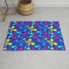 Fishes in blue love Rug