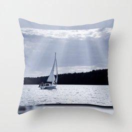 Blue melancholy lake view Throw Pillow