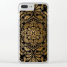 Sophisticated Black and Gold Art Deco Pattern Clear iPhone Case