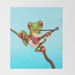 Tree Frog Playing Acoustic Guitar with Flag of Japan Throw Blanket