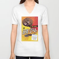 """movie posters V-neck T-shirts featuring """"The Brain Stalk"""" Movie Poster by 7 Hells: Retro Horror art of Bill Rude"""