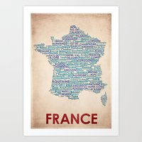 france Art Prints featuring France by Wordmaps